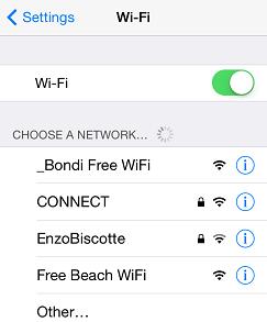 Wifi設定から、Bondi Free WiFiを選択
