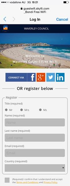 姓名、メールアドレス、国を入力し、一番下のボックスにチェックを入れて接続