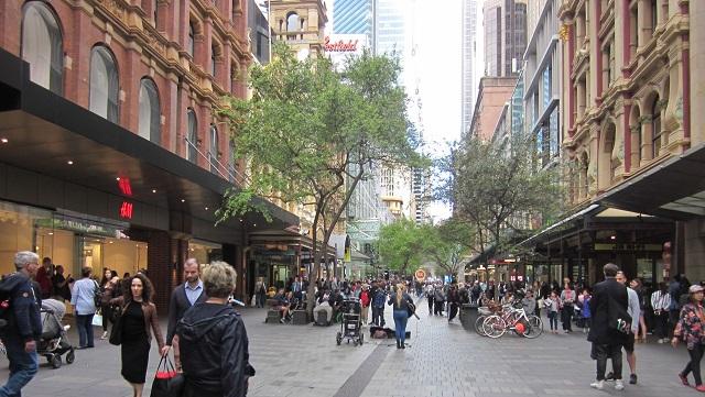 King Streetから見たPitt Street Mall