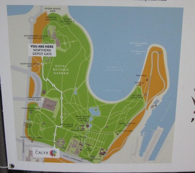 王立植物園の地図 (州立美術館と大聖堂は更に南に位置する)