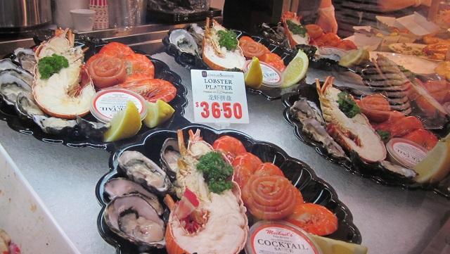 フィッシュマーケットのロブスターと牡蠣などのセット