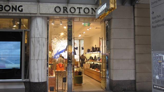 Pitt Street Mallの北端にもOrotonのショップがあります
